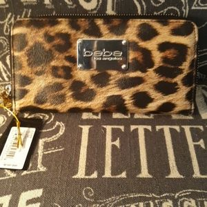 NEW BEBE LEATHER ANIMAL PRINT WALLET